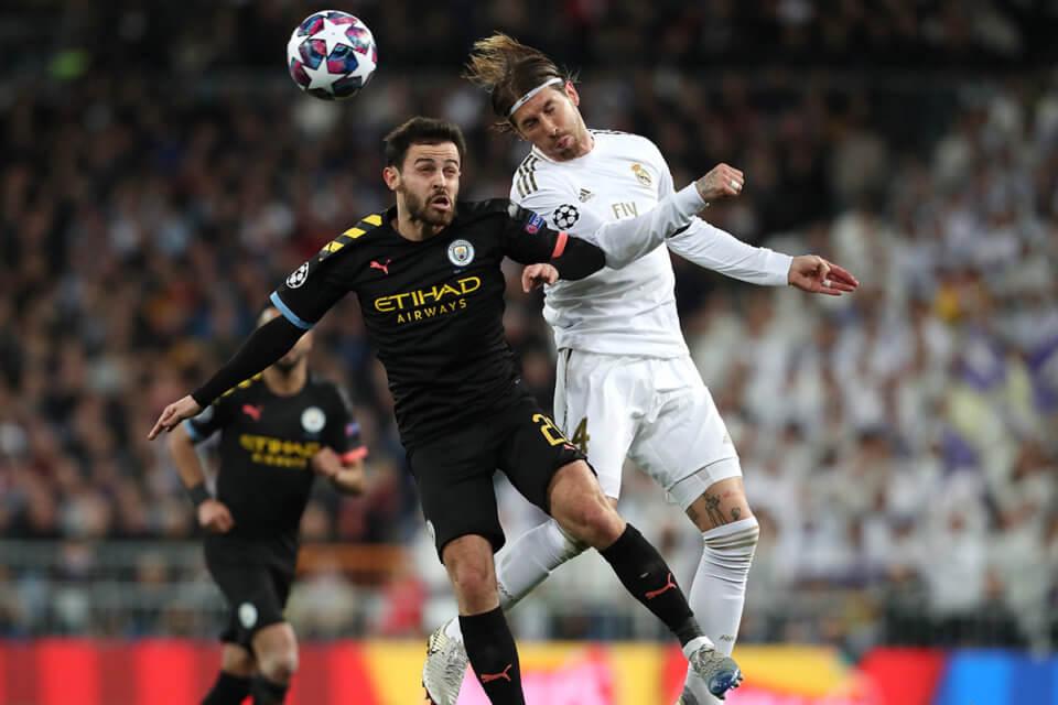 Sergio Ramos podczas meczu z Manchesterem City