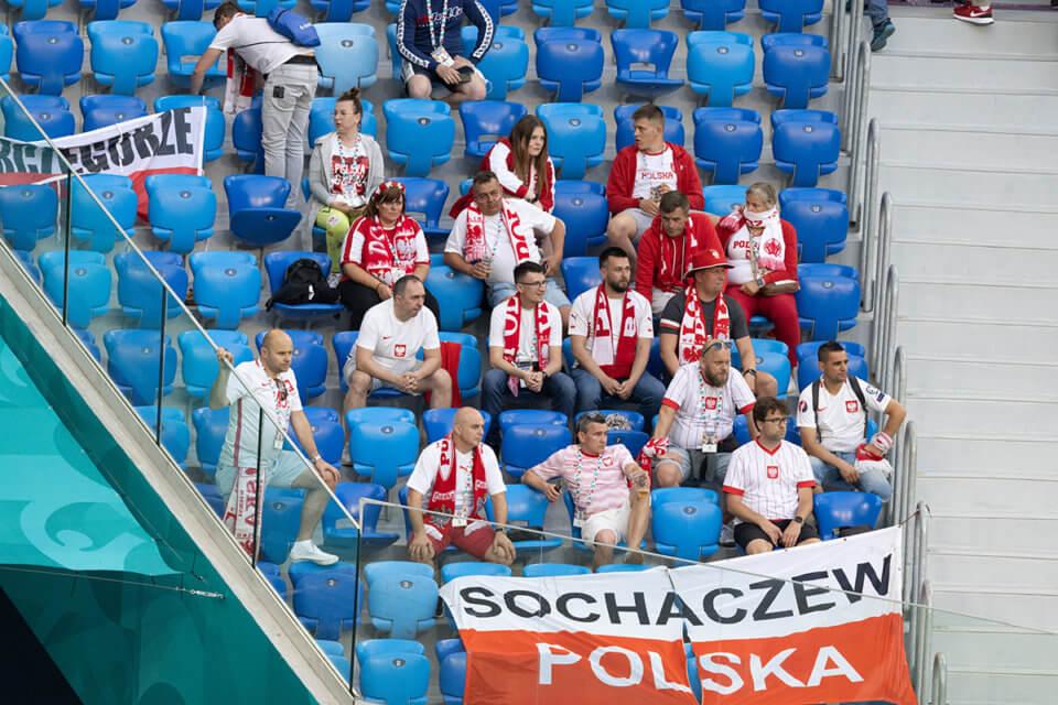 Kibice reprezentacji Polski na stadionie w Petersburgu